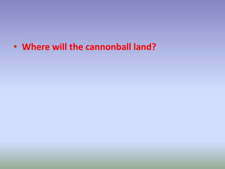 Where will the cannonball land?