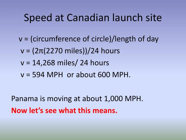 Speed at Canadian launch site