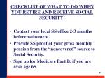 checklist of what to do when you retire and receive social security