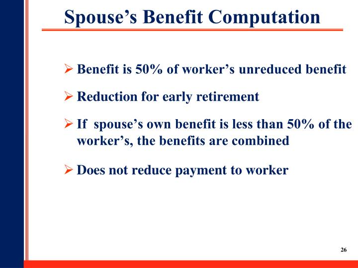 Benefit is 50% of worker's unreduced benefit