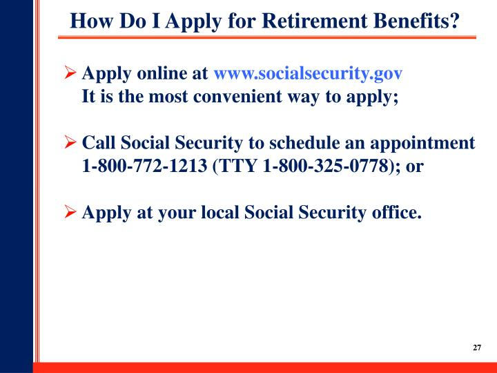 How Do I Apply for Retirement Benefits?