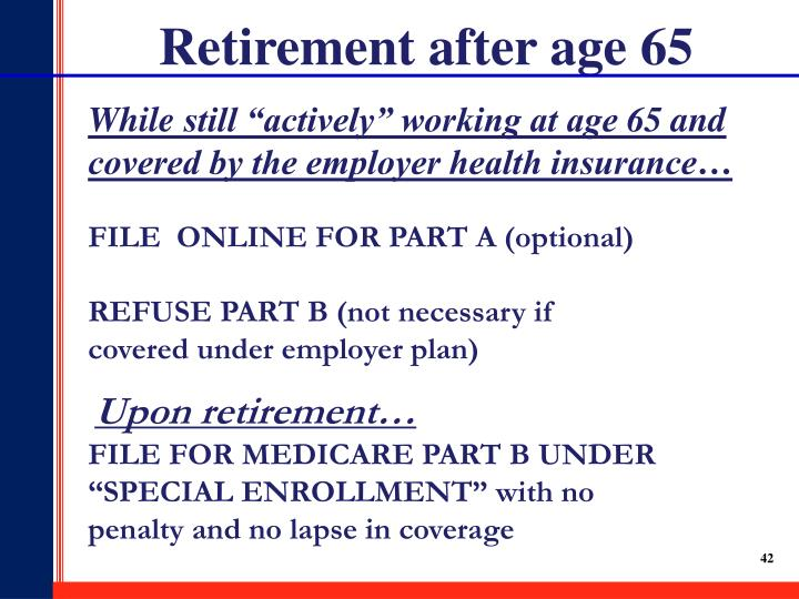 Retirement after age 65
