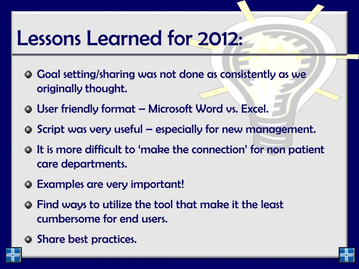 Lessons Learned for 2012: