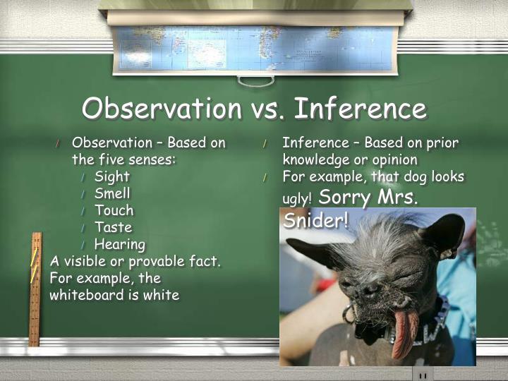 Observation – Based on the five senses: