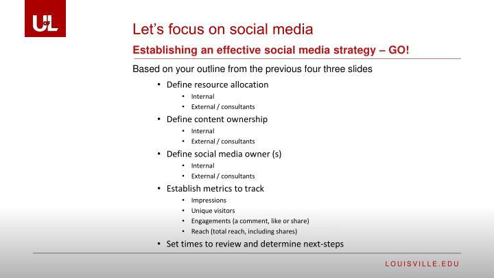 Establishing an effective social media strategy – GO!