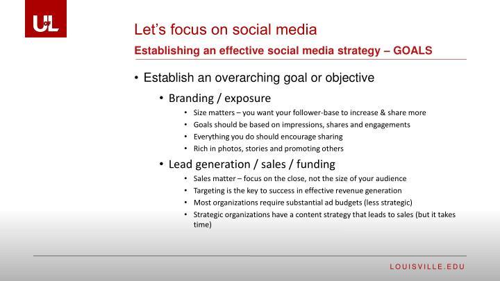 Establishing an effective social media strategy – GOALS