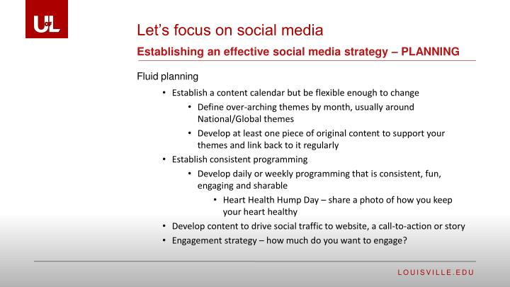 Establishing an effective social media strategy – PLANNING