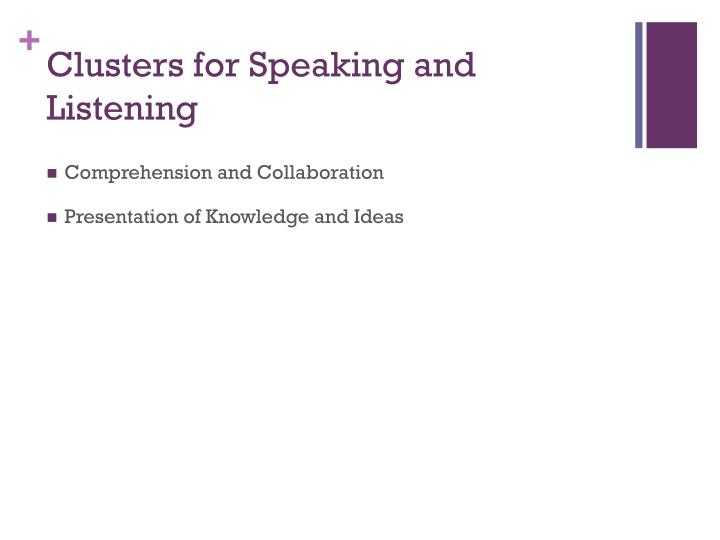 Clusters for Speaking and Listening