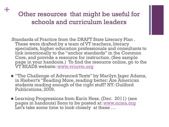 Other resources  that might be useful for schools and curriculum leaders