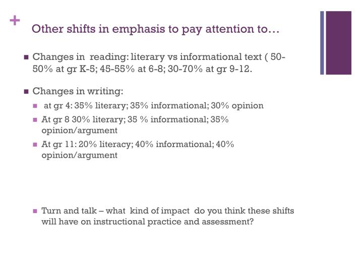 Other shifts in emphasis to pay attention to…