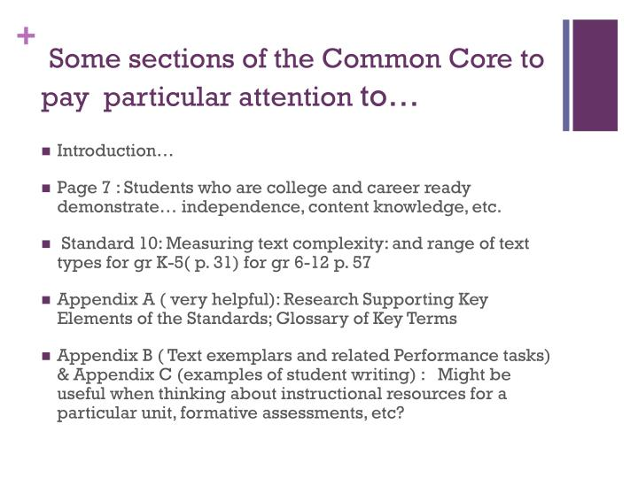 Some sections of the Common Core to pay  particular attention