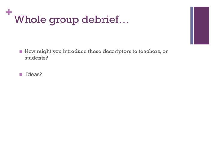 Whole group debrief…