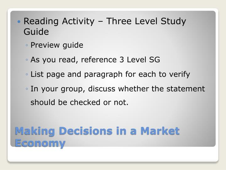 Reading Activity – Three Level Study Guide