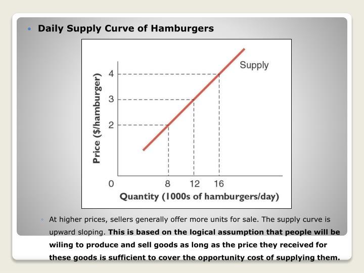 Daily Supply Curve of Hamburgers