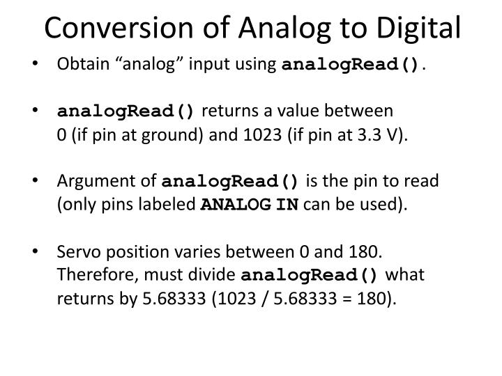 Conversion of Analog to Digital
