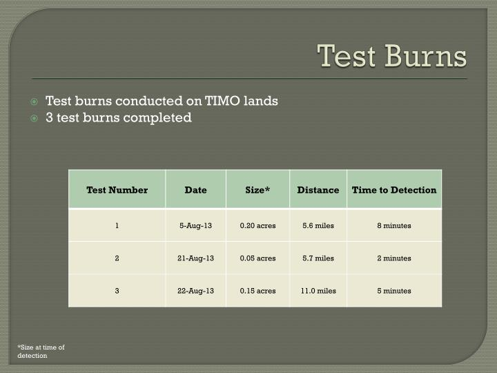 Test Burns