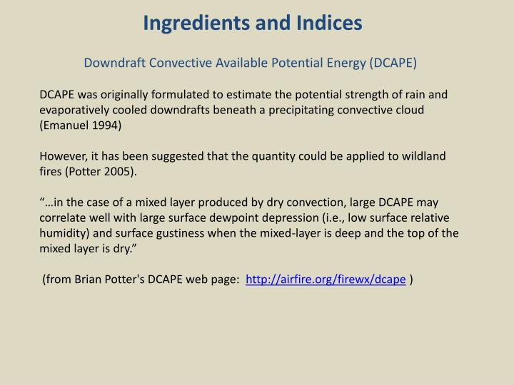 Ingredients and Indices