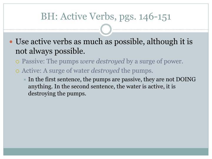 BH: Active Verbs, pgs. 146-151