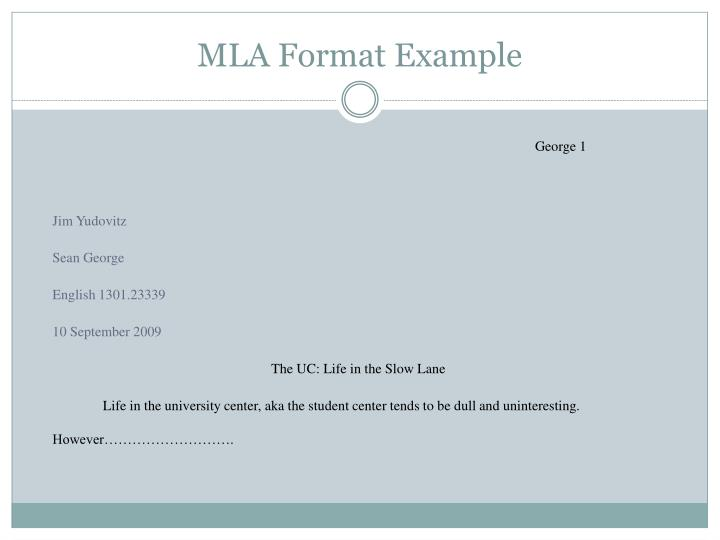 MLA Format Example