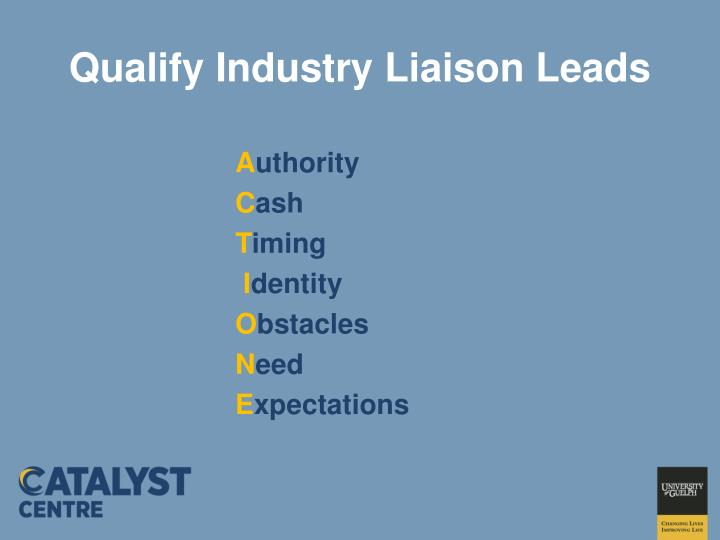 Qualify Industry Liaison Leads