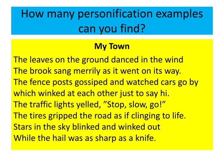 How many personification examples can you find?