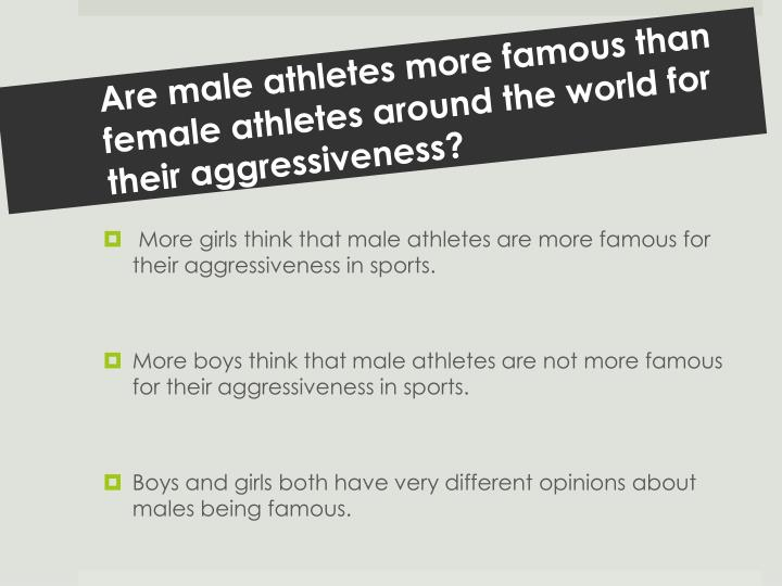 Are male athletes more famous than female athletes around the world for their aggressiveness?