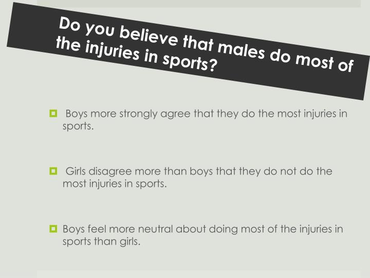 Do you believe that males do most of the injuries in sports?
