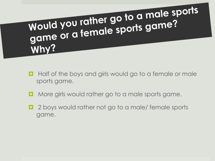 Would you rather go to a male sports game or a female sports game?  Why?