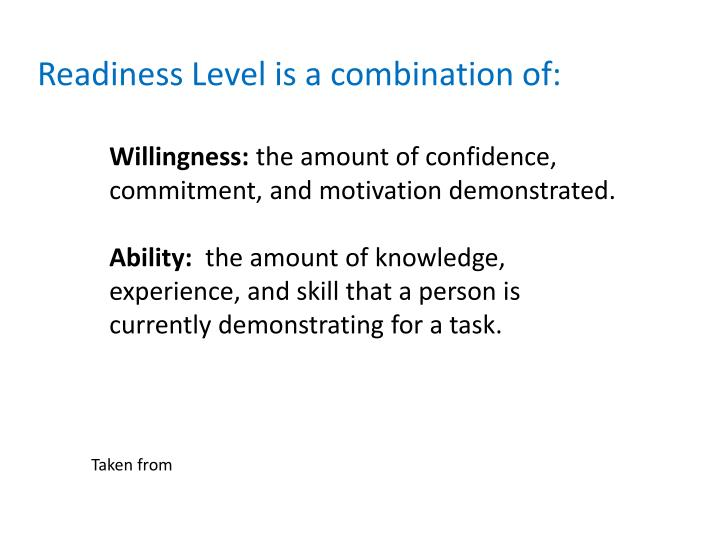 Readiness Level is a combination of:
