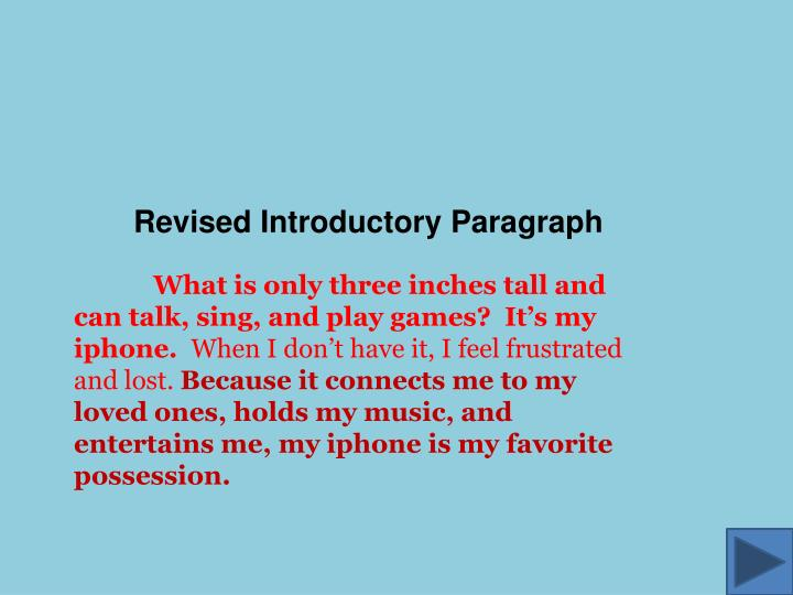 Revised Introductory Paragraph