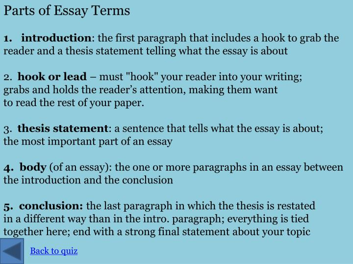 Parts of Essay Terms