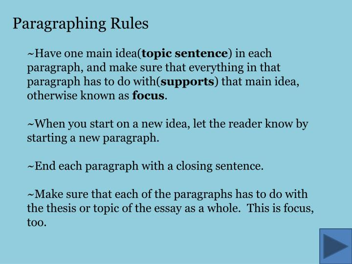 Paragraphing Rules
