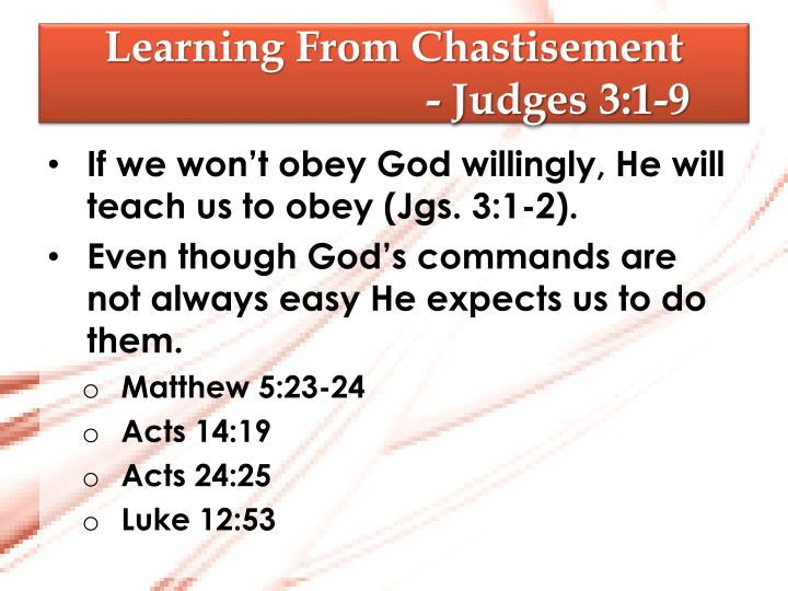 Learning from chastisement judges 3 1 91