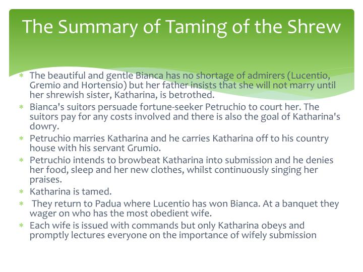 The Summary of Taming of the Shrew