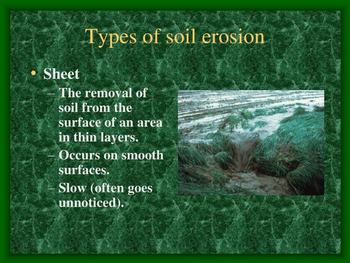 Types of soil erosion