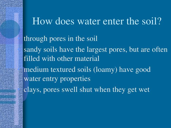 How does water enter the soil?