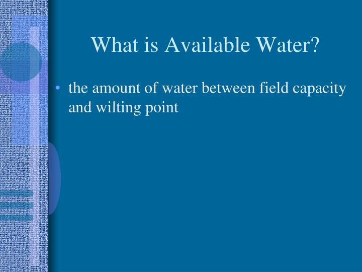 What is Available Water?