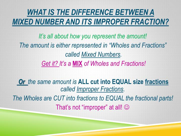 What is the difference between a mixed number and its improper fraction