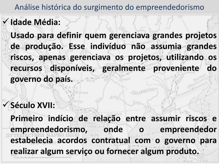 Análise histórica do surgimento do empreendedorismo