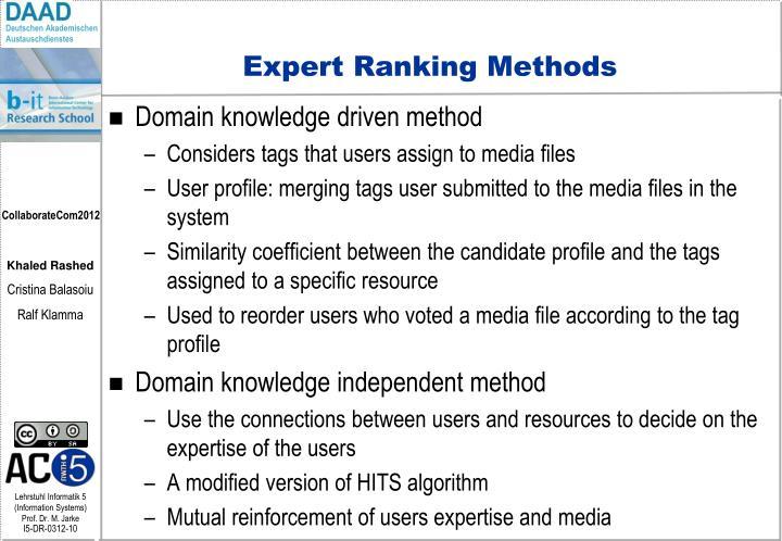 Expert Ranking Methods