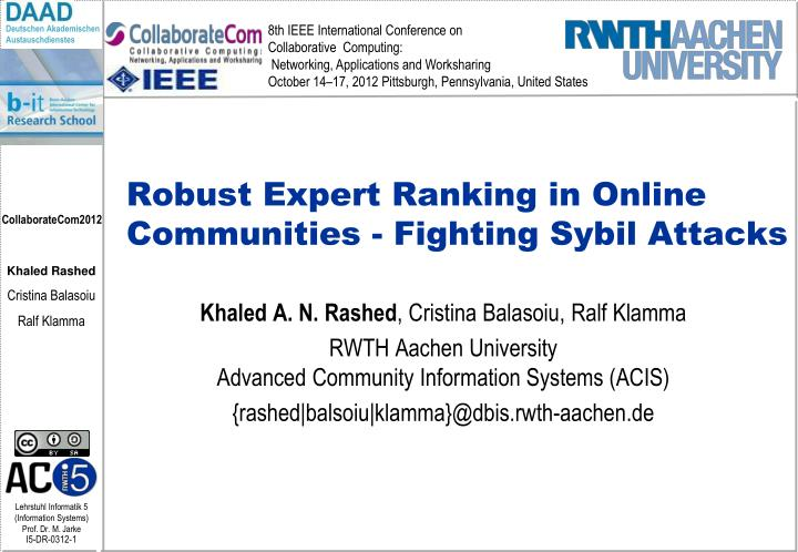 Robust expert ranking in online communities fighting sybil attacks