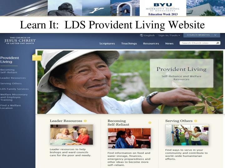 Learn It:  LDS Provident Living Website