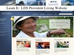 learn it lds provident living website