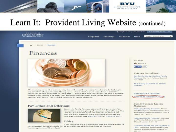 Learn It:  Provident Living Website