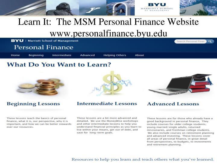 Learn It:  The MSM Personal Finance Website