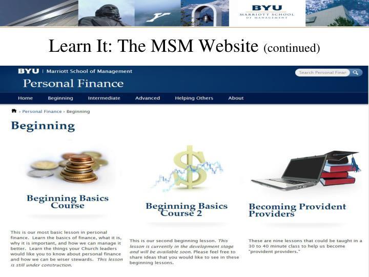 Learn It: The MSM Website