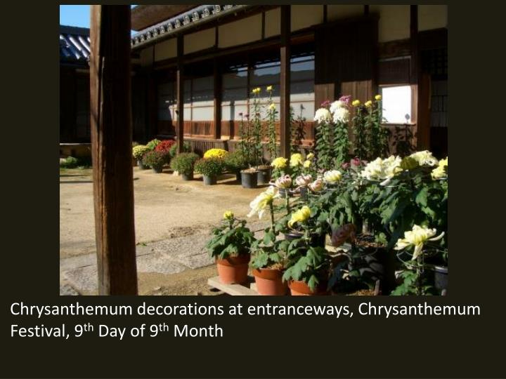 Chrysanthemum decorations at entranceways, Chrysanthemum Festival, 9