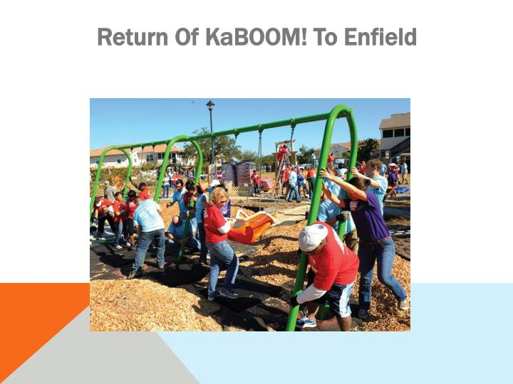 Return Of KaBOOM! To Enfield