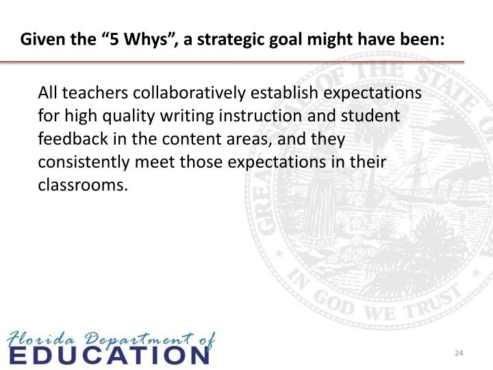 "Given the ""5 Whys"", a strategic goal might have been:"