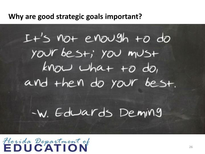 Why are good strategic goals important?